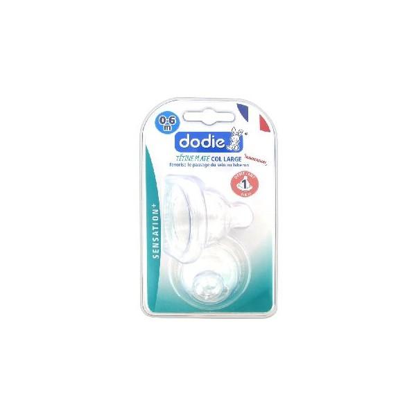 Dodie sensation+ 2 tétines plate col large 0-6 mois débit 1 lent