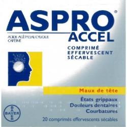 Asproaccel comprimés effervescents 20 comprimés