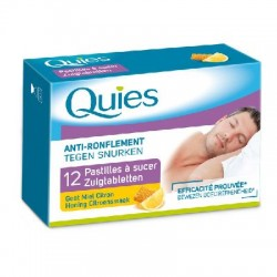 Quies anti ronflement 12 pastilles à sucer gout miel citron
