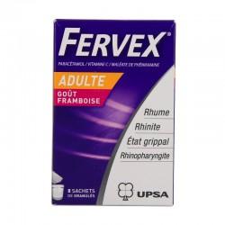 Fervex état grippal adultes framboise 8 sachets de granulés