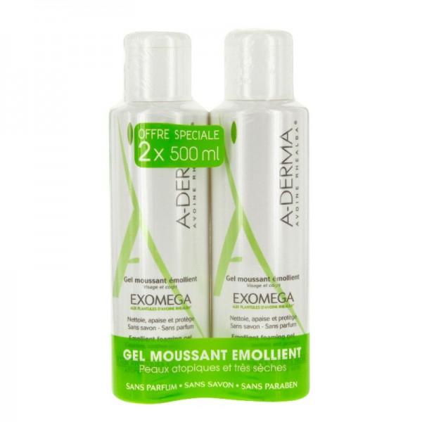 A-derma exomega gel moussant émollient duo 500ml
