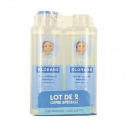 Klorane eau micellaire nettoyante sans rinçage 2x500ml