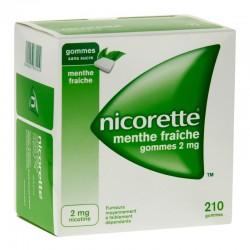 Nicorette menthe fraiche 2mg sans sucre 210 gommes à mâcher