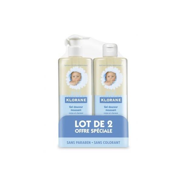 Klorane gel douceur moussant corps et cheveux duo 2x500ml