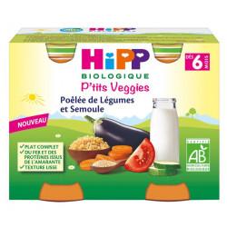HIPP PTITS VEG POELE LEGUME SEMOULE 6 MOIS 2X190GR