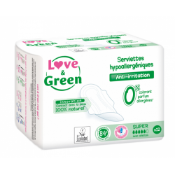 LOVE&GREEN SUPER 12 SERVIETTES ANTI-IRRITATION