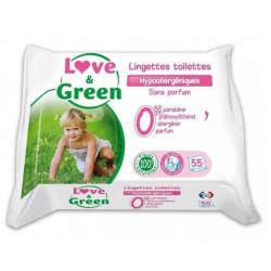 LOVE&GREEN 55 LINGETTES TOILETTE HYPOALLERGENIQUE SANS PARFUM