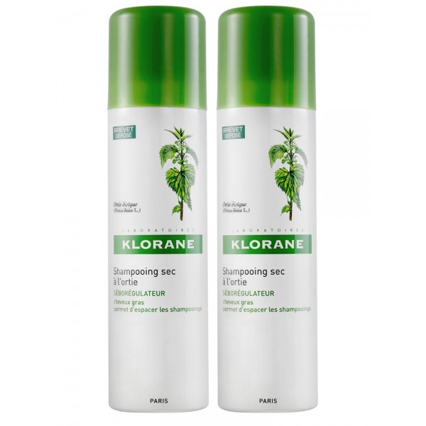 Klorane shampooing sec séborégulateur à l'extrait d'ortie lot de 2 x 150 ml